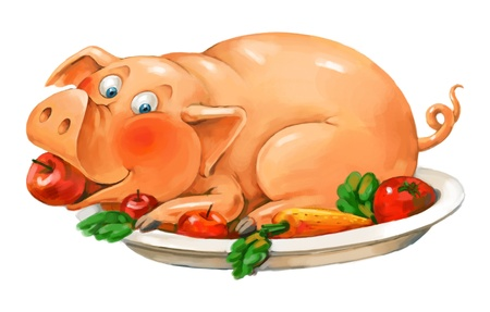 Dish of pork, Funny pig lies on a plate, Freehand drawing photo
