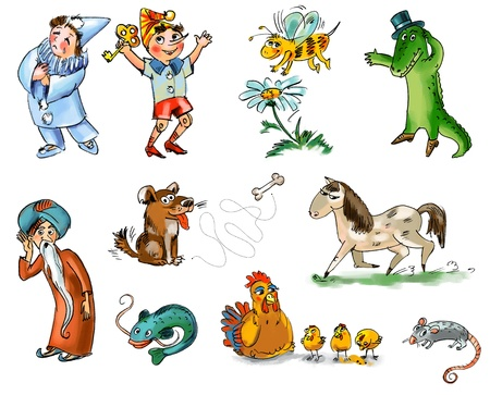 national hero: Set of fairy tale characters and animals