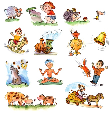 yogi: Funny kids on a white background, Child picture book Stock Photo