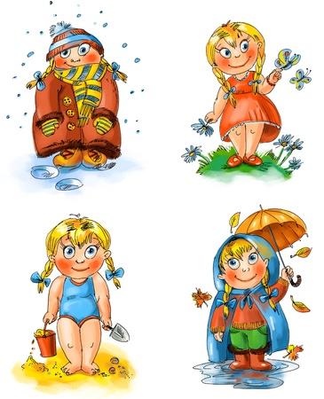 summer school: Little girl, Seasons, Hand drawn Stock Photo