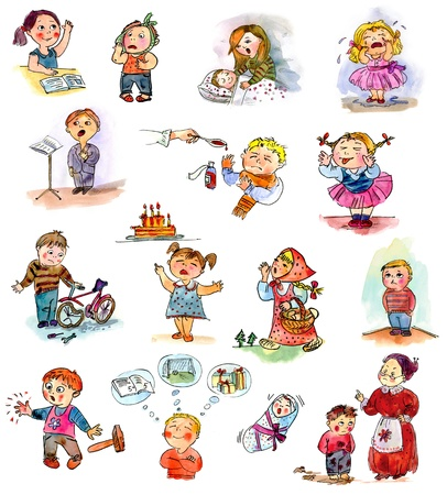 dolor de muelas: Niños divertidos sobre un fondo blanco libro, imagen Niño