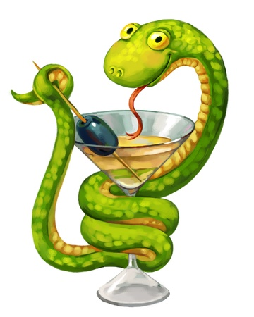 Snake on cup, medicine symbol, Martini glass with olive photo