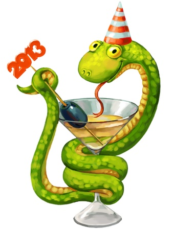 Cute snake, symbol of 2013 year, Hand-drawn Stock Photo - 16650578