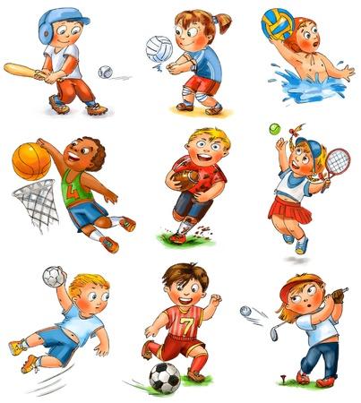 balonmano: Participaci�n de los ni�os en el deporte Foto de archivo