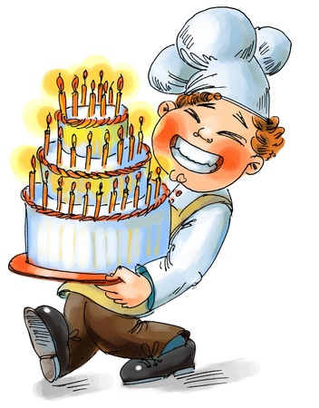 happy birthday cake: Chef sosteniendo un gran pastel con velas, Dibujado a mano Foto de archivo