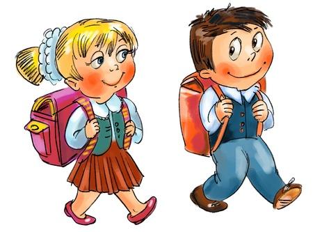 ni�os caminando: Ni�o y ni�a va a la escuela, dibujado a mano