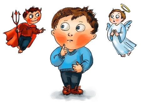 teufel und engel: Wahl zwischen Gut und Böse, von Hand gezeichnet