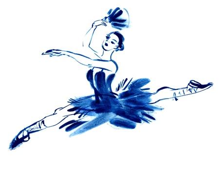 silueta bailarina: Azul bailarina, gouache dibujo, dibujado a mano
