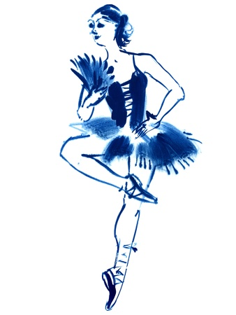 Blue ballerina, dance, drawing gouache, hand-drawn