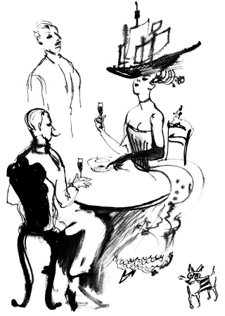 nobleman: Lunch aristocrats, ink drawing Stock Photo
