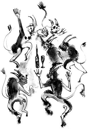 Dancing devils, ink drawing, hand-drawn