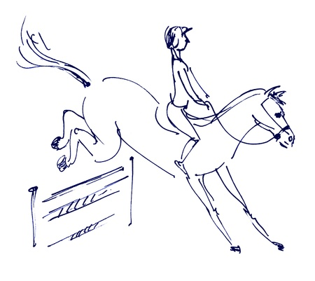show jumping: Equestrian sport - show jumping, Hand-drawn
