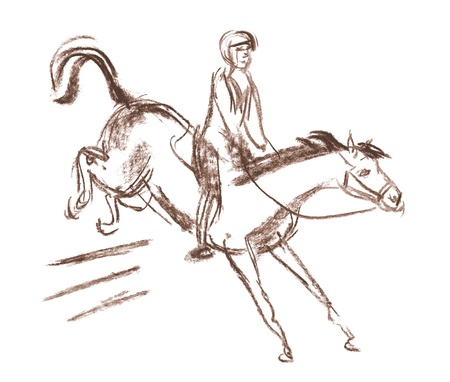 show jumping: Horse and equestrian jockey racing, Horse jumps over a barrier