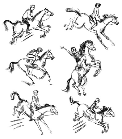 Derby, Equestrian sport horse and rider, Hand-drawn