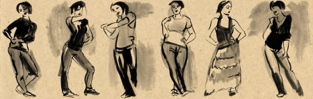 Sketches of figures in gouache, hand drawn photo
