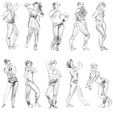Pencil sketches of figures, hand drawn photo