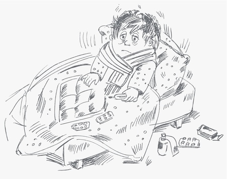 lying on bed: Boy se enferm� y estaba tumbado en la cama, ilustraci�n vectorial