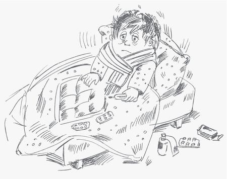 im bett liegen: Boy wurde krank und lag im Bett, Vektor-Illustration Illustration