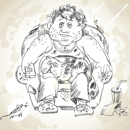 obeseness: Fat man sits on the armchair and watching TV