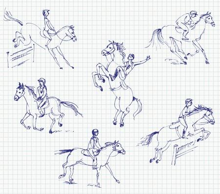 cavallo che salta: Jockey cavalcando un cavallo, Set, Disegnati a mano