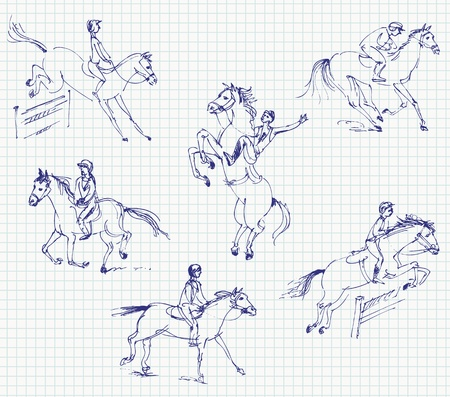 caballo saltando: Jockey montado en un caballo, Set, dibujado a mano Vectores