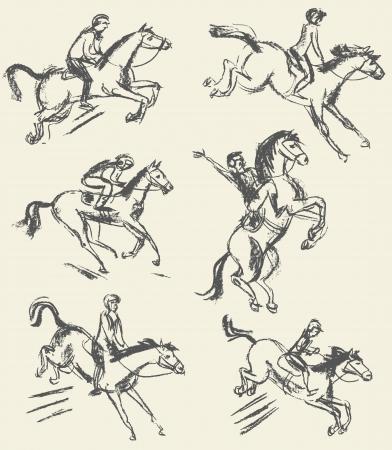 horse fly: Equestrian sport - show jumping, Jockey riding a horse Illustration