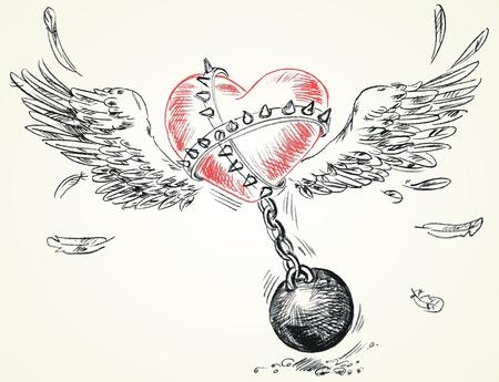 shackled: Cadenas Alados coraz�n encadenadas, dibujado a mano, ilustraci�n vectorial