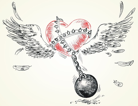 chained: Winged heart fettered fetters, Hand-drawn, Vector illustration Illustration