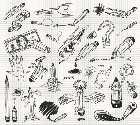 sharpeners: Pencil drawing, Hand-drawn, Vector illustration