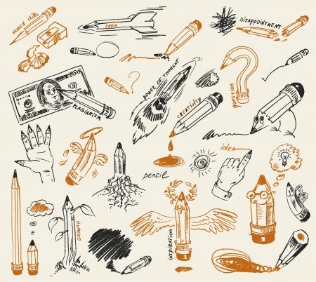 sacapuntas: Dibujo a lápiz, dibujado a mano, ilustración vectorial
