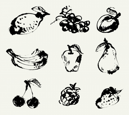 Set of fruits, Freehand drawing, Vector illustration Vector