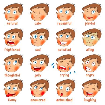 감정, 만화 얼굴 표정 세트 일러스트