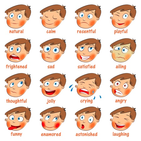 Emotions, Cartoon facial expressions set Vector
