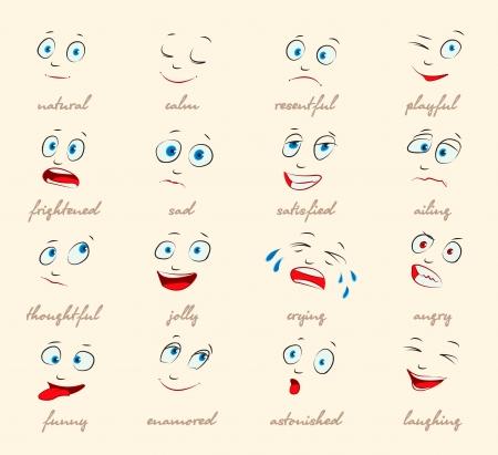Emoties, Cartoon gezichtsuitdrukkingen set, Vector Vector Illustratie