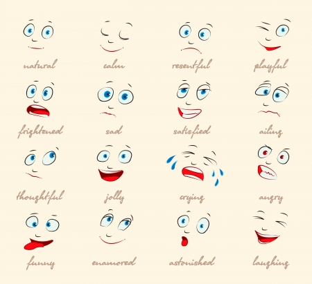 Emotions, Cartoon facial expressions set, Vector