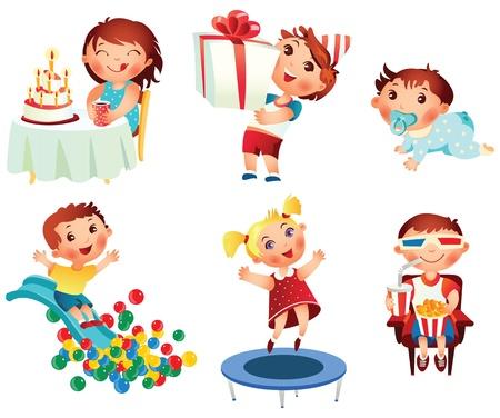 playground rides: Amusement Park, little girl jumping on a trampoline, set