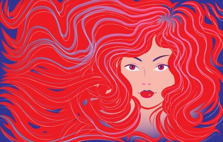 excitation: Beautiful woman with flowing hair, Vector illustration