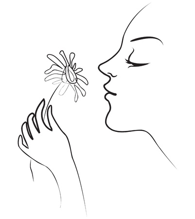 Girl holds in her hand tenderly daisy, Smelling flowers Vector
