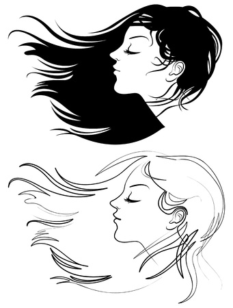 Beautiful girl with long hair, Hair fluttering wind Vector