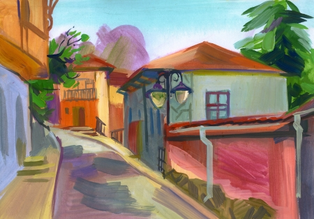 painterly: Crimean sketch in gouache, Hand-drawn Stock Photo