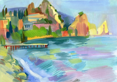 Crimean sketch in gouache, Hand-drawn Stock Photo - 16906638