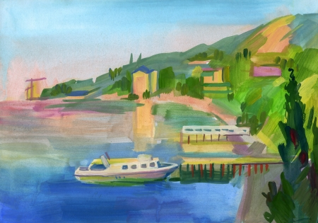 Crimean sketch in gouache, Hand-drawn Stock Photo - 16906637