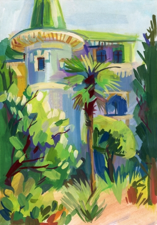 smeared hand: Crimean sketch in gouache, Gurzuf, Hand-drawn