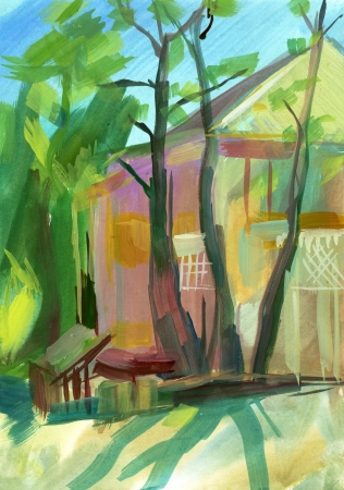 Crimean sketch in gouache, Hand-drawn Stock Photo - 16900330