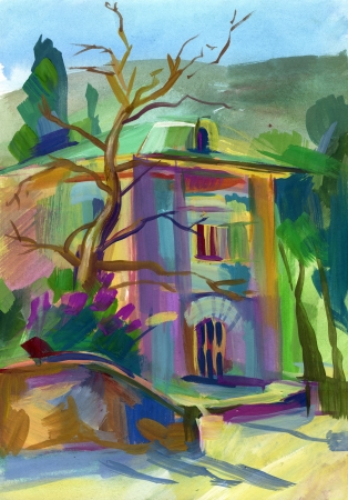 Crimean sketch in gouache, Gurzuf, Hand-drawn Stock Photo - 16900332