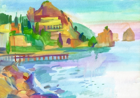 Crimean sketch in gouache, Hand-drawn photo