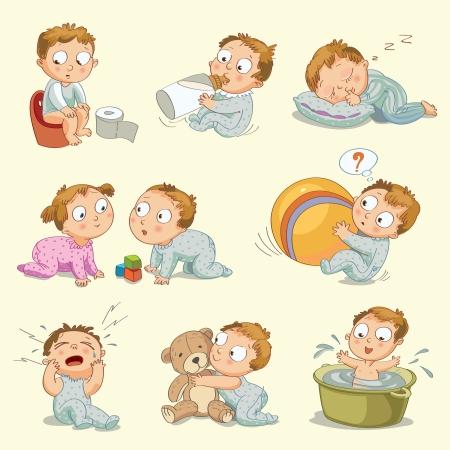 nenes jugando: Beb� que se sienta en bote, toma leche de la botella, duerme en la almohada Vectores