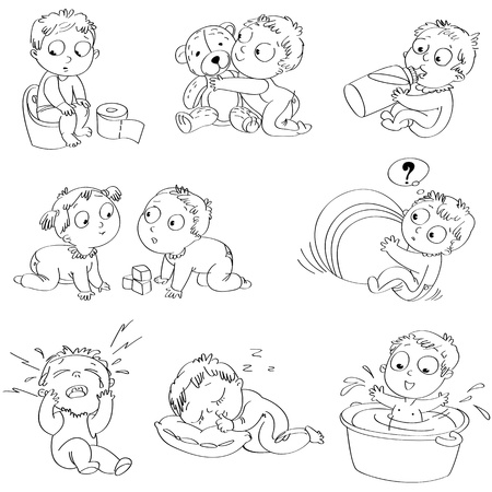 Playing with big ball, hugging teddy bear, wash in bath tub Vector