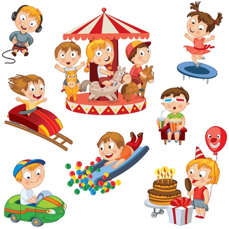 family playing: Amusement Park, Children ride on carousel, trampoline