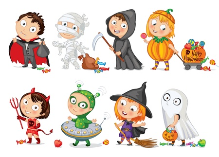 Happy Halloween, Funny little children in colorful costumes Ilustração